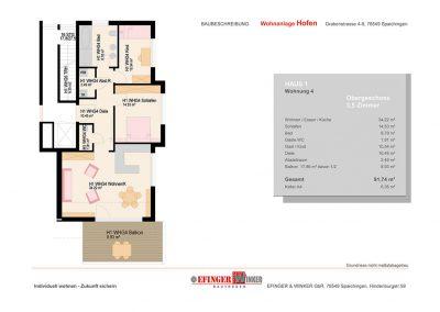 Grundriss des Wohnung mit 3,5 Zimmern in Haus 1 des Wohnprojekts Grabenstraße in Spaichingen Hofen
