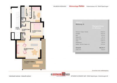 Grundriss der Wohnung mit 3,5 Zimmern in Haus 2 des Wohnprojekts Grabenstraße in Spaichingen Hofen