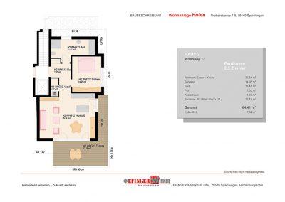 Grundriss des Penthouse mit 2,5 Zimmern in Haus 2 des Wohnprojekts Grabenstraße in Spaichingen Hofen