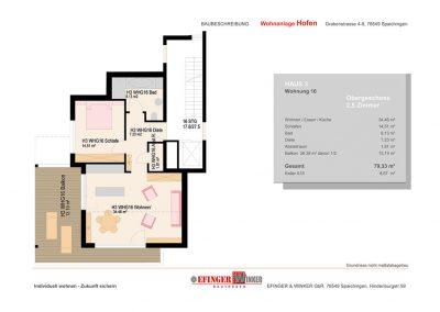 Grundriss der 2,5 Zimmer-Wohnung in Haus 3 des Wohnprojekts Grabenstraße in Spaichingen Hofen