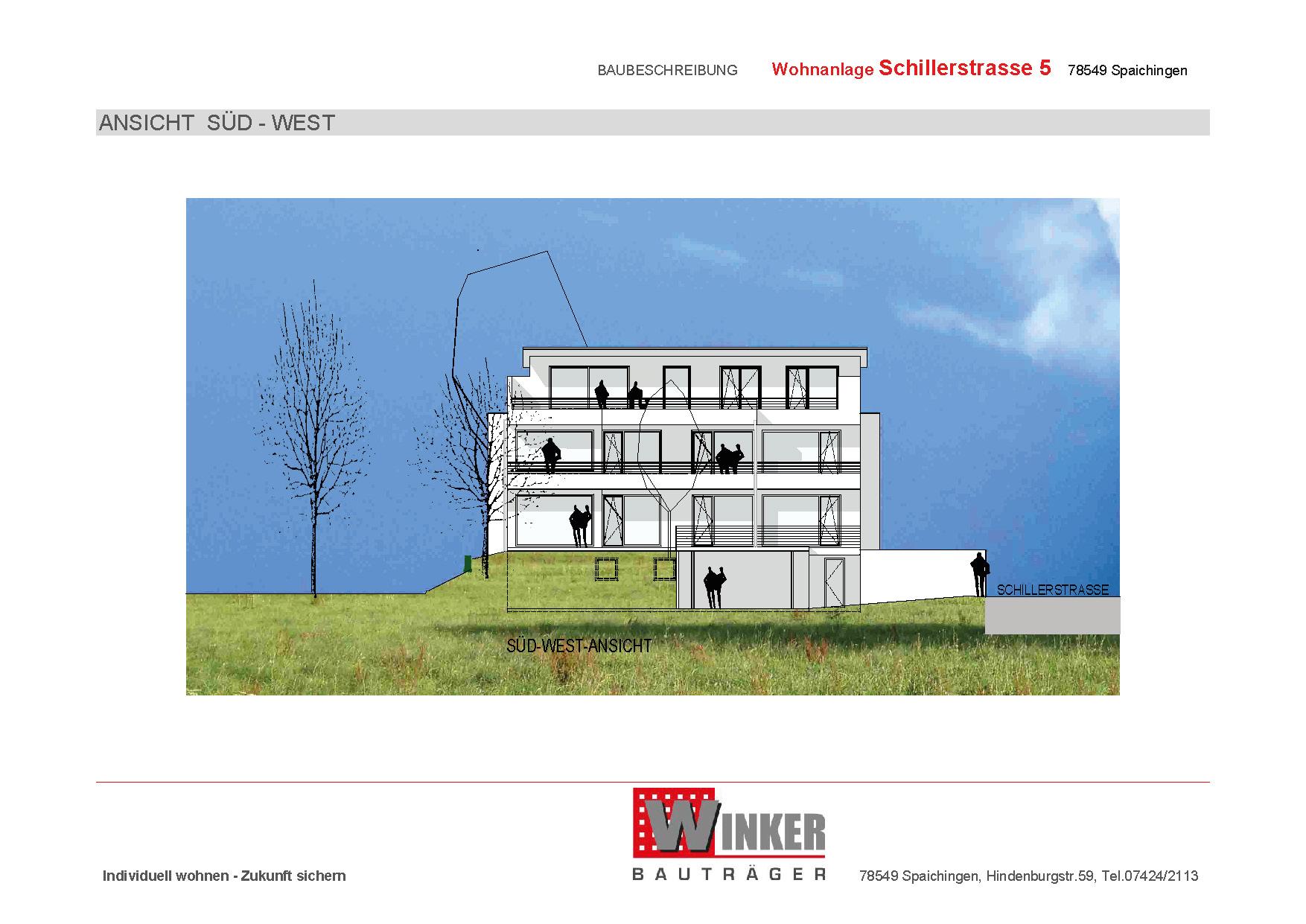 Grundriss einer attraktiven 2.5-Zimmer-Wohnung des Wohnprojekts Grabenstraße in Spaichingen Hofen