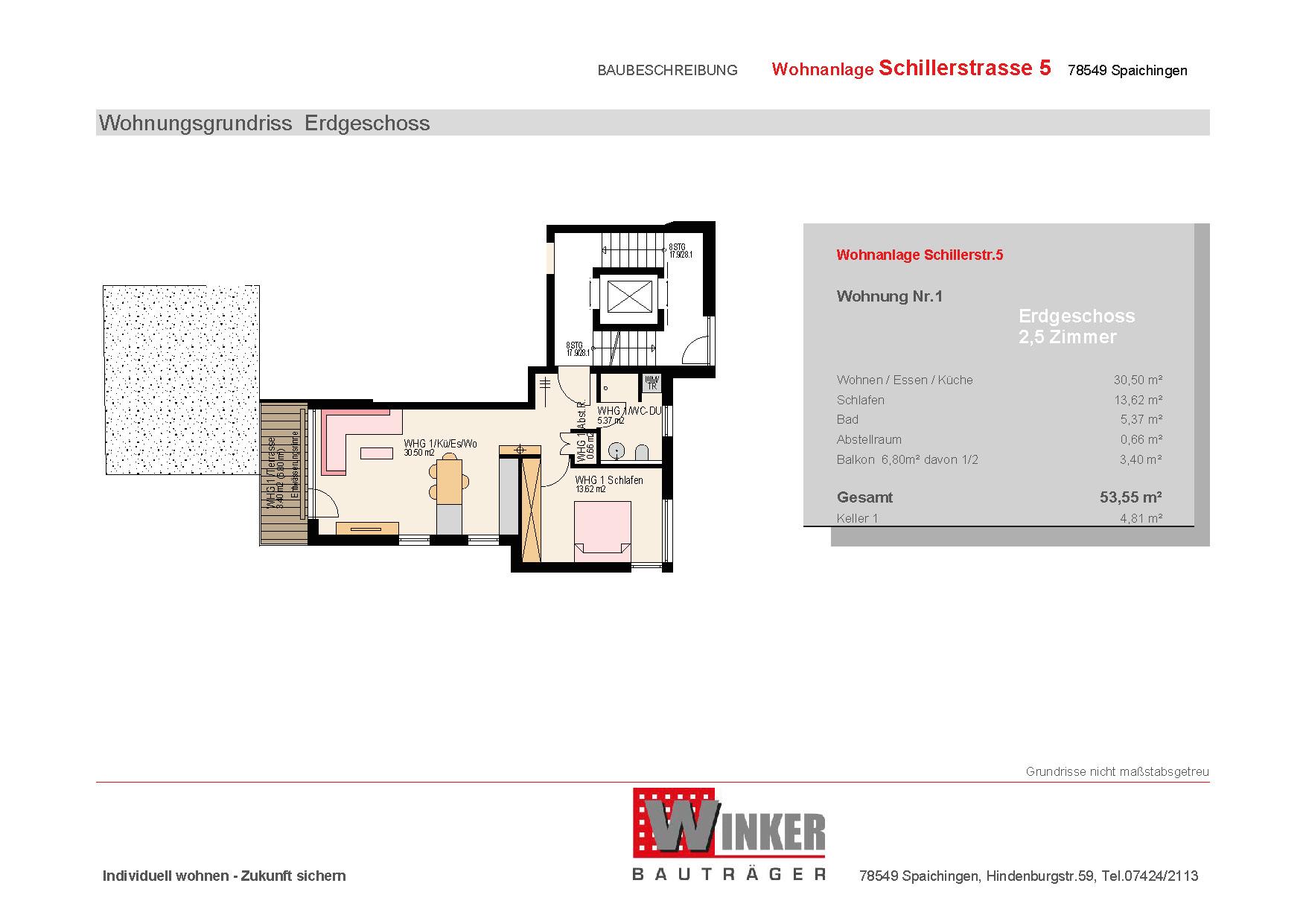 Grundriss einer attraktiven 3.5-Zimmer-Wohnung des Wohnprojekts Grabenstraße in Spaichingen Hofen